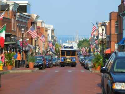 A trolley coming down Main street in Annapolis.